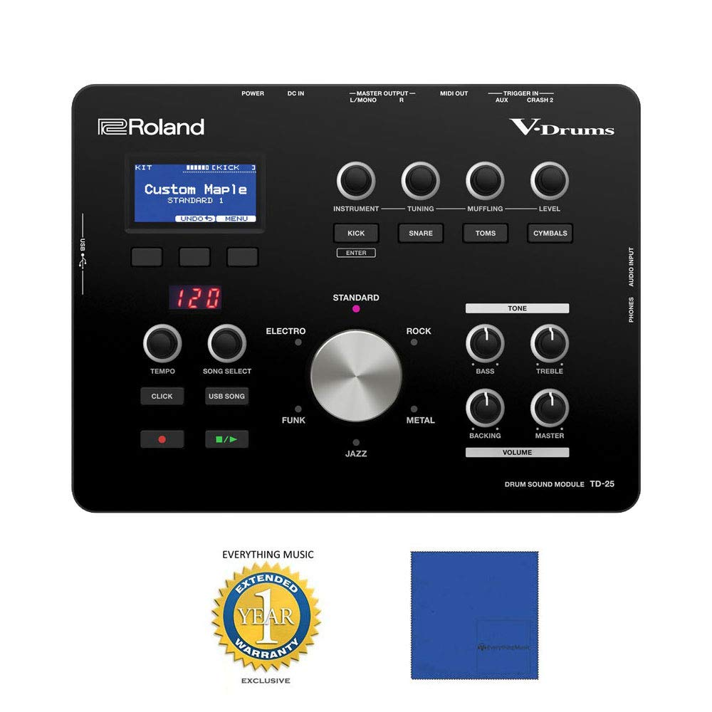 Roland TD-25 V-Drums Sound Module with Microfiber and 1 Year Everything Music Extended Warranty by Roland