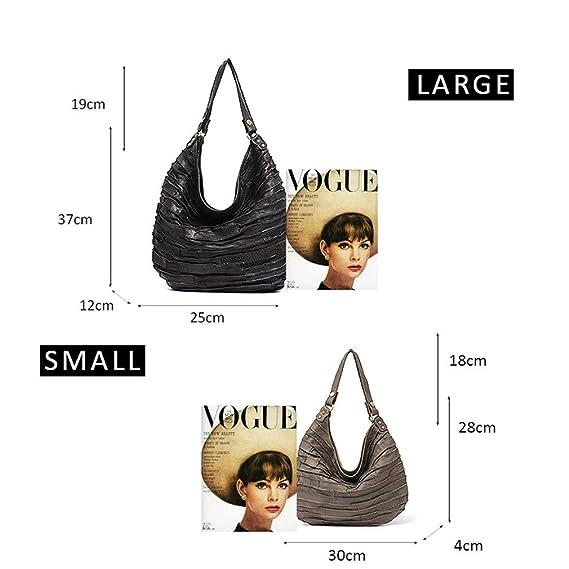8eac426cf84e Amazon.com  Leather Skin Stripe Hobos Women Hobo Shoulder Bag Black L   Sports   Outdoors