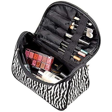 Westeng - Neceser de Maquillaje para Mujer Bolsa Moderna y Bonita para Cosméticos Bolso de Mano para Almacenamiento de aseo Personal, Punto de Onda, 1 ...