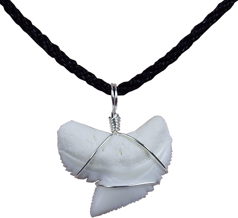 GemShark Real Shark Tooth Necklace Tiger Sharks Sterling Silver Charm Pendant for Boys Girls