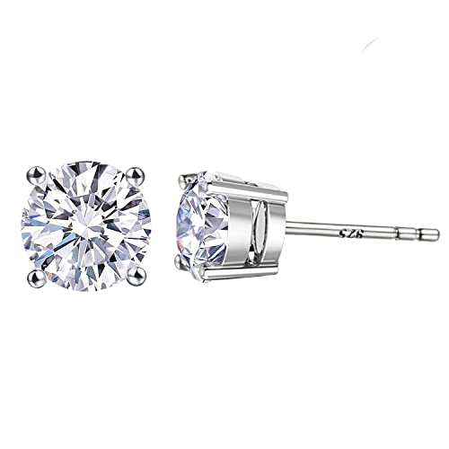 Large CZ Fake Diamond Stud Earrings - 18K Rose Gold Plated Cubic Zirconia Earrings 925 Sterling Silver Round CZ Studs Hypoallergenic Earrings for Men & Women (White Gold 7mm Round Cubic Zirconia)