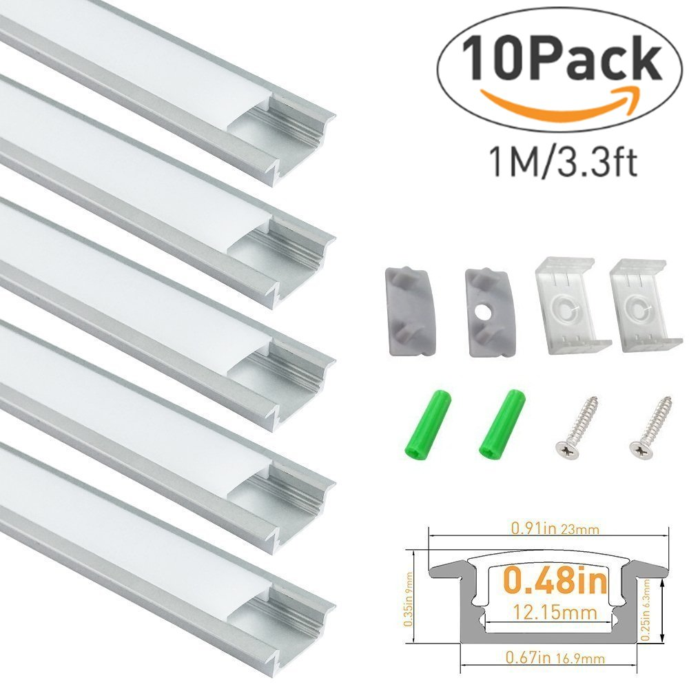 LightingWill 10-Pack 3.3ft/1M 9x23mm Silver U-Shape Internal Width 12mm LED Aluminum Channel System with Cover, End Caps and Mounting Clips Aluminum Extrusion for LED Strip Light Installations-U01S10