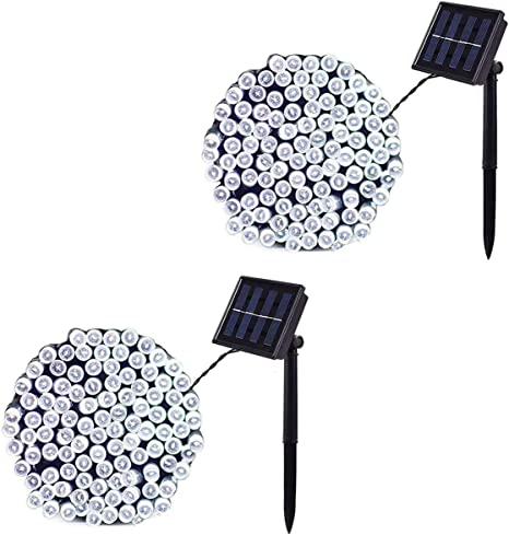 Baimo 2 Pack 33ft Solar String Lights Party Outdoor Indoor Wedding 100 LED 8 Modes Waterproof Fairy Lights for Garden Yard Cool White Christmas Tree