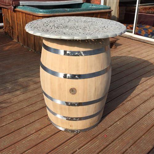 Gran mesa de patio, roble macizo barril de vino Metal Top: Amazon ...