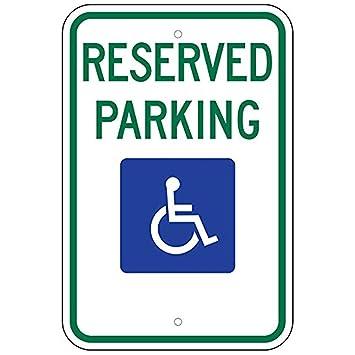 Amazon.com: Señal de aparcamiento de Handicap Federal (R7-8 ...