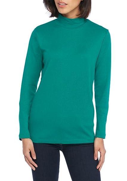 de6b9d8dd54063 Kim Rogers Women s Mock Turtleneck Long Sleeves Top (Emerald Green ...