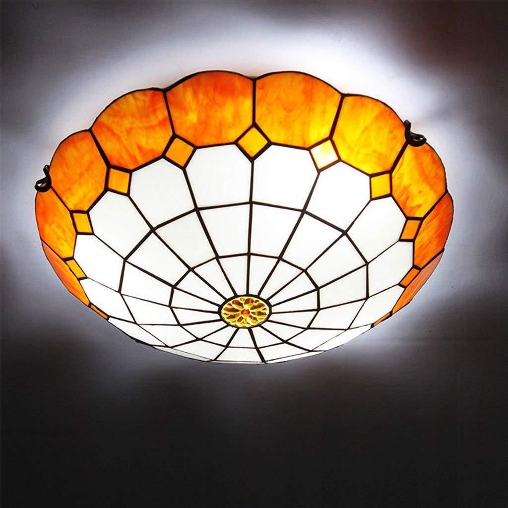 AEXU Exquisit Kronleuchter mediterrane einfache kreative Wohnzimmer Deckenleuchte Schlafzimmer Gang ohne Strobe LED Deckenleuchte E27 (Farbe  Orange-Durchmesser 40cm) (Farbe   Orange-diameter 40cm)