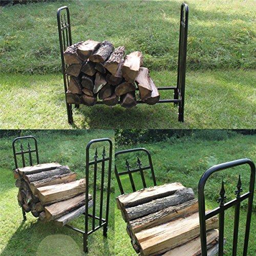 Design Brennholz-Regal Kaminholz-Regal Holz-Regal Holzständer Metall schwarz
