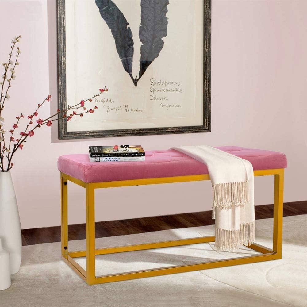 ingresso panca in velluto rosa corridoio Greensen finestra per soggiorno Panca poggiapiedi imbottita in velluto con struttura in metallo dorato,scarpiera pianoforte