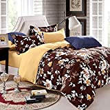 Duvet Cover Sets with Zipper Elephant with White Floral Print-4 Pieces Ultra Soft Hypoallergenic Microfiber