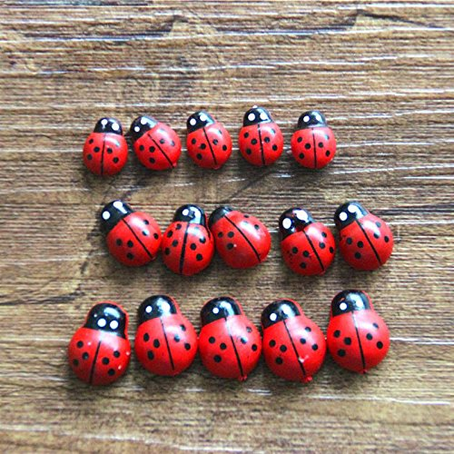 Culturemart Wooden Ladybird Ladybug Sticker Children Kids Painted Adhesive Back DIY Craft Home Party Holiday Decoration -