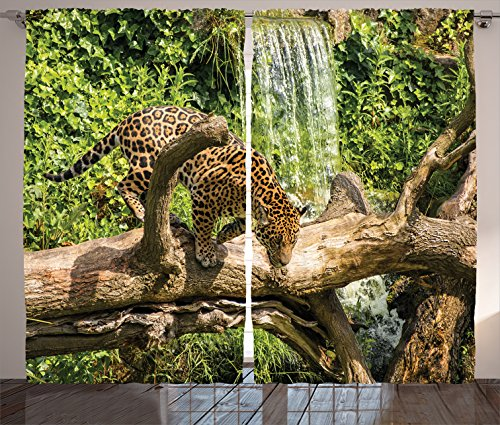 Ambesonne Safari Decor Collection  Jaguar Cat On A Tree Trunk Waterfall Endangered Species Wild Life Fast Animal Image  Living Room Bedroom Curtain 2 Panels Set  108 X 84 Inches  Green Peru Tan