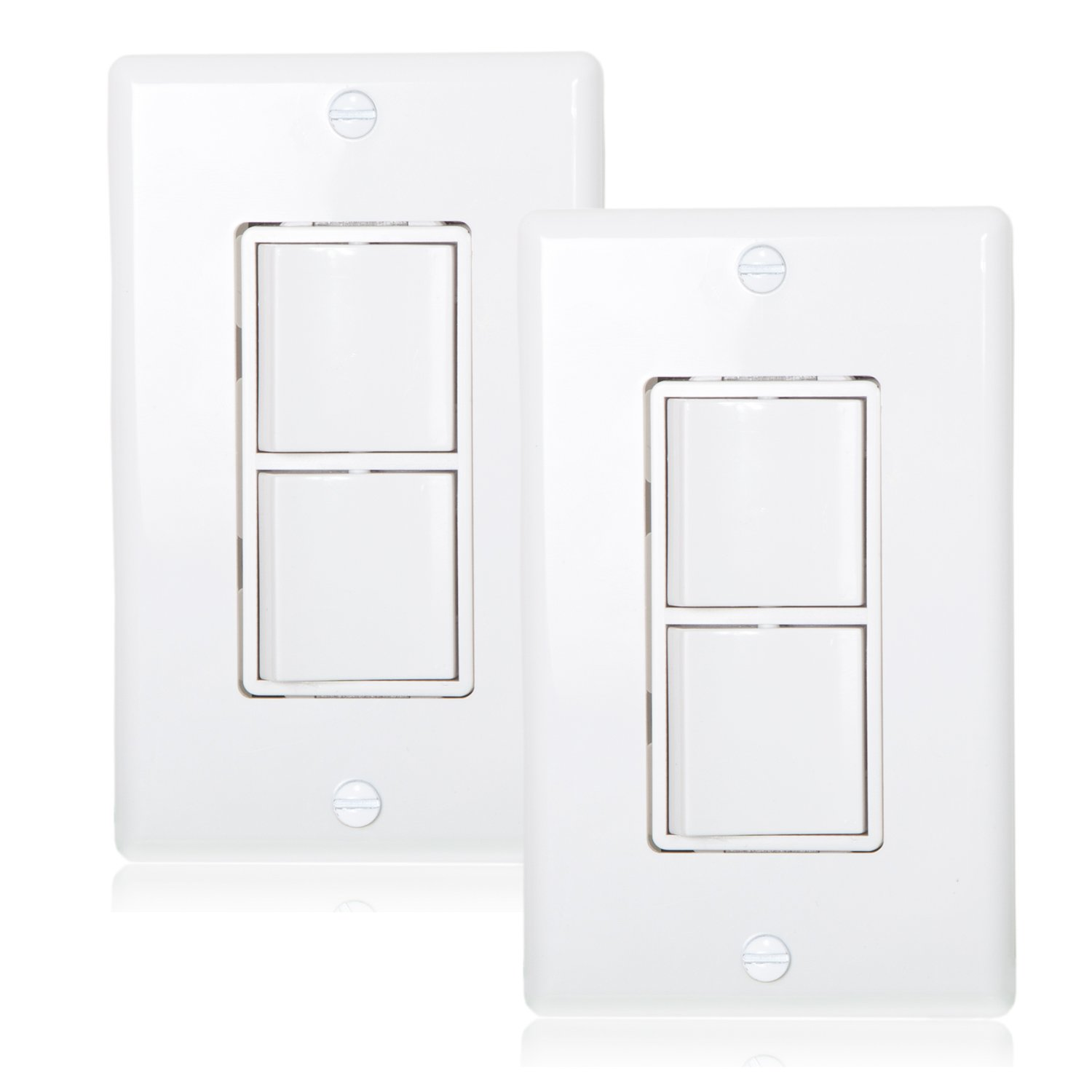 Maxxima AC Combination Switch White Wall Plates Included Duplex Rocker Switch 15 Amp Decorative (Pack of 2) by Maxxima