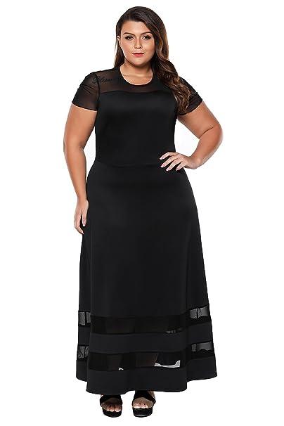BaronHong Vestidos largos de cóctel Women Organza Mesh Trim Plus Size: Amazon.es: Ropa y accesorios