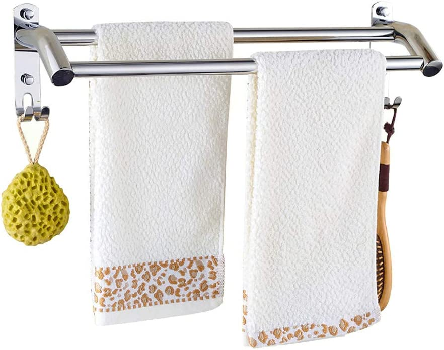Double Bar Single Towel Bar for Bathroom PHOEWON Towel Shelf Multi-Function Towel Rack SUS304 Stainless Steel Towel Storage Wall Mounted Bath Towel Rail
