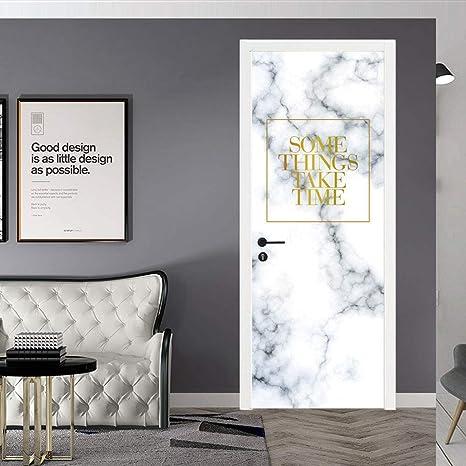 QMTZDQ Papel Pintado Puerta Pegatinas para Puertas De Mármol Las Pegatinas para Puertas Estéreo 3D Se Pueden Quitar A Prueba De Agua Autoadhesivas Pegatinas De Pared Papel Tapiz DIY: Amazon.es: Deportes y