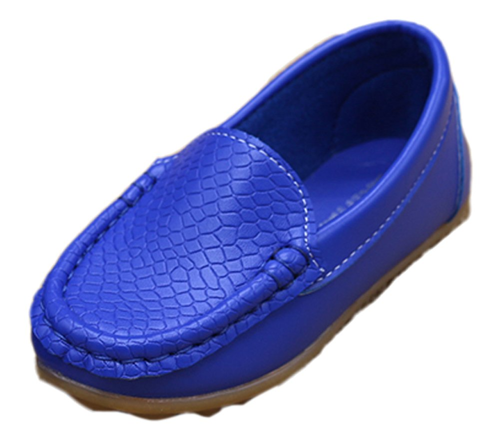 VECJUNIA Girls Boys Easy on Loafer Shoes Outdoor Slippers Cute Dress Flats Royal Blue 6.5 M US Toddler