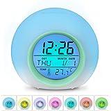 HAMSWAN Despertadores, [Regalos] Reloi Alarma, Clock, Despertadores Cambiado Entre 7 Colores con 8 Tonos, Temperatura para Padres Estudios y Niños ect.