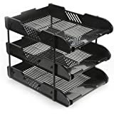 Office Filing Trays Holder A4 Document Letter Paper Storage 3 Tiers Post In Out
