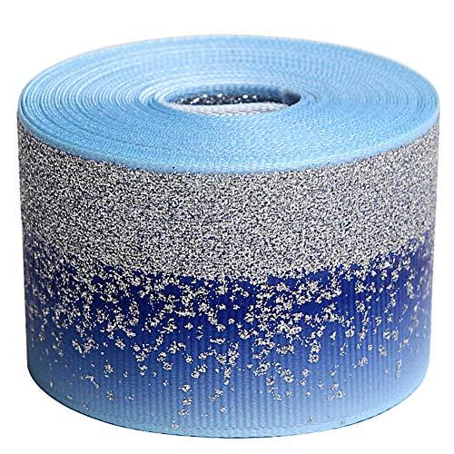 Glitter Fabric Grosgrain Ribbon 1-1/2 x 5 Yards for Making Hair Bow DIY Headband Dressing Arts Sewing Birthday Party Events Bridal Shower, Wedding Events (Blue)