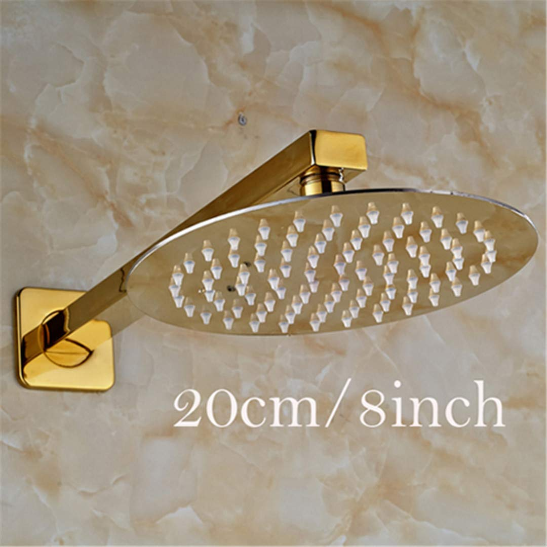8 Inch Style golden 8 10 12 Inch Ultrathin Rainfall Shower Head With Wall Mount Brass Shower Arm 8 inch style3