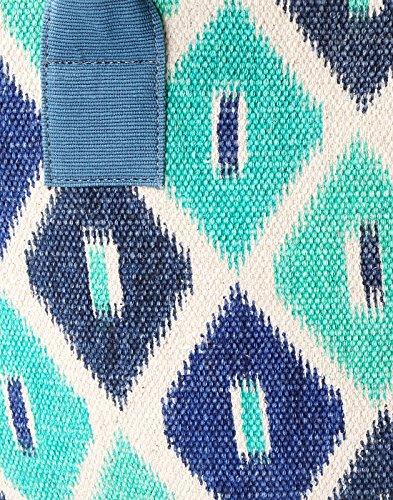 Exklusive Handblock Printed Baumwolle Quatrefoil Grün-Einkaufstasche Von Rajrang