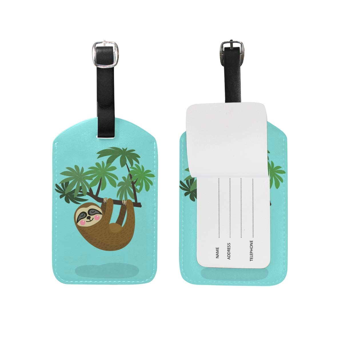 ASLGlicenseplateframeFG Luggage Tag Green Sloth Suitcases Ship Women Men Personalized Kid Label Travel ID Handbag Tag with Buckle Set Of 2