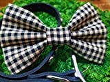 Black and Beige Gingham Checkered Pet Bow Tie