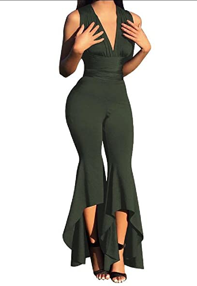 6d11e54e22 Zimaes Women Solid Backless Sexy Unique Hem Line Thin Jumpsuit Romper Army  Green XS