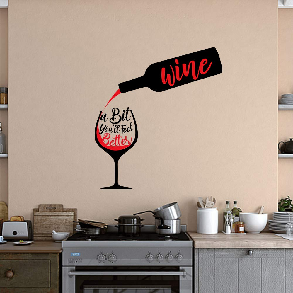 Funny Family Kitchen Wine a Bit You'll Feel Better Vinyl Wall Art Decal Sticker, Family Home Decor Removable Vinyl for Kitchen Dining Room Living Room Blank Wall (11.8''×23.6'')