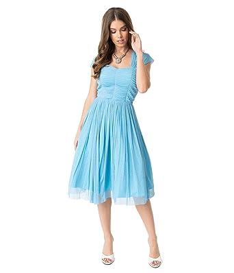 f89e47f0 Image Unavailable. Image not available for. Color: Unique Vintage Light  Blue Glitter Mesh Garden State Cocktail Dress