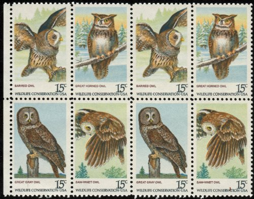 AMERICAN OWLS ~ BIRDS OF PREY ~ GREAT GREY OWL, SAW-WHET OWL, BARRED OWL, GREAT HORNED OWL #1763a Block of 8 x 15 US Postage ()