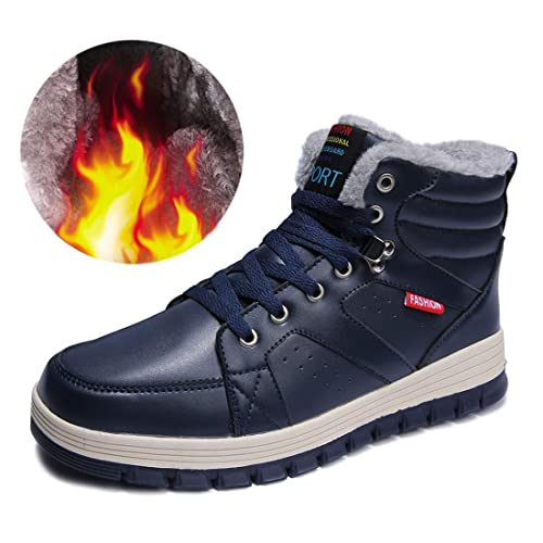 3534bc7fd7a7 Ceyue Mens Leather Snow Boots Lace Up Ankle Sneakers High Top Winter Shoes  with Fur Lining