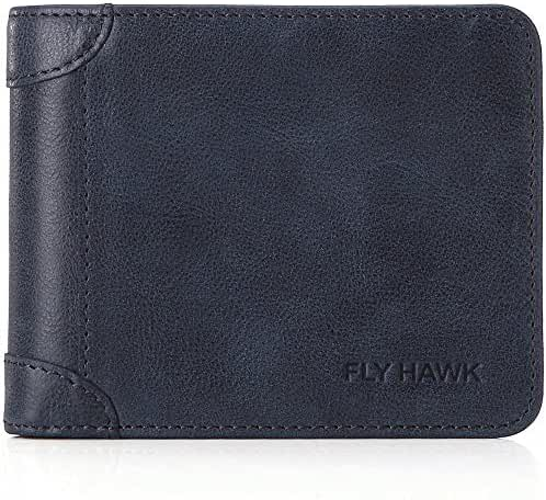 FlyHawk RFID Blocking Genuine Leather Wallets for Mens Bifold Money Clip Purse