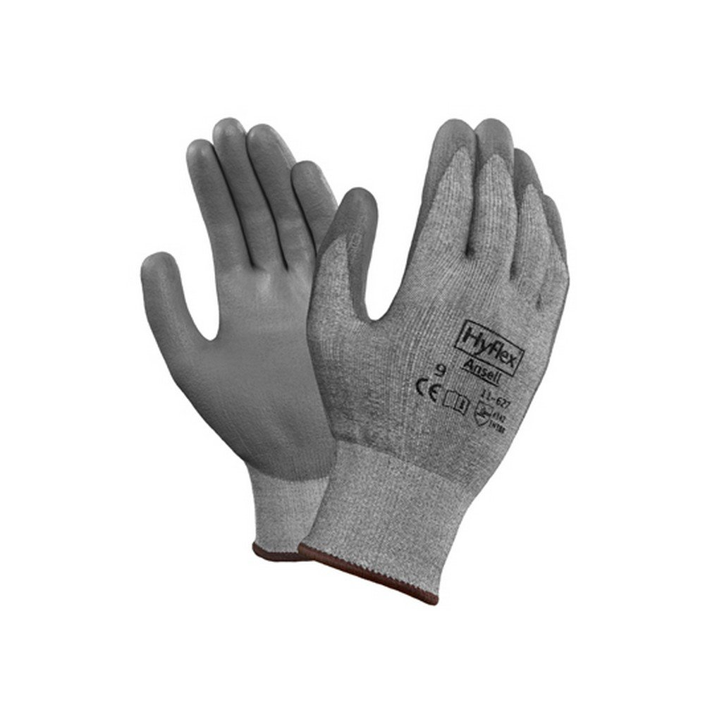 Ansell Gloves 163840 Ansell HyFlex 11-727 INTERCEPT Technology Glove with Polyurethane Palm Coating, Cut Level 2, Size 10, Gray (Pack of 12) by Ansell Gloves (Image #1)