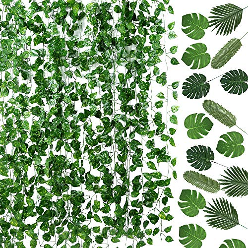 Auihiay 93 FT 12 Strands Artificial Ivy Leaf Plants Vine Garland and 24 Pieces Artificial Palm Leaves for Home Wall…