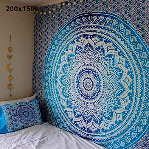 lightclub Mandala Bohemian Yoga Mat Beach Towel Shawl Blanket Indian Wall Hanging Tapestry Blue 150x150cm
