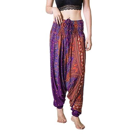2db515d6bd9 RAISINGTOP Women Casual Summer Loose Yoga Trousers Baggy Boho Floral Jumpsuit  Harem Pants Overalls Wide Leg