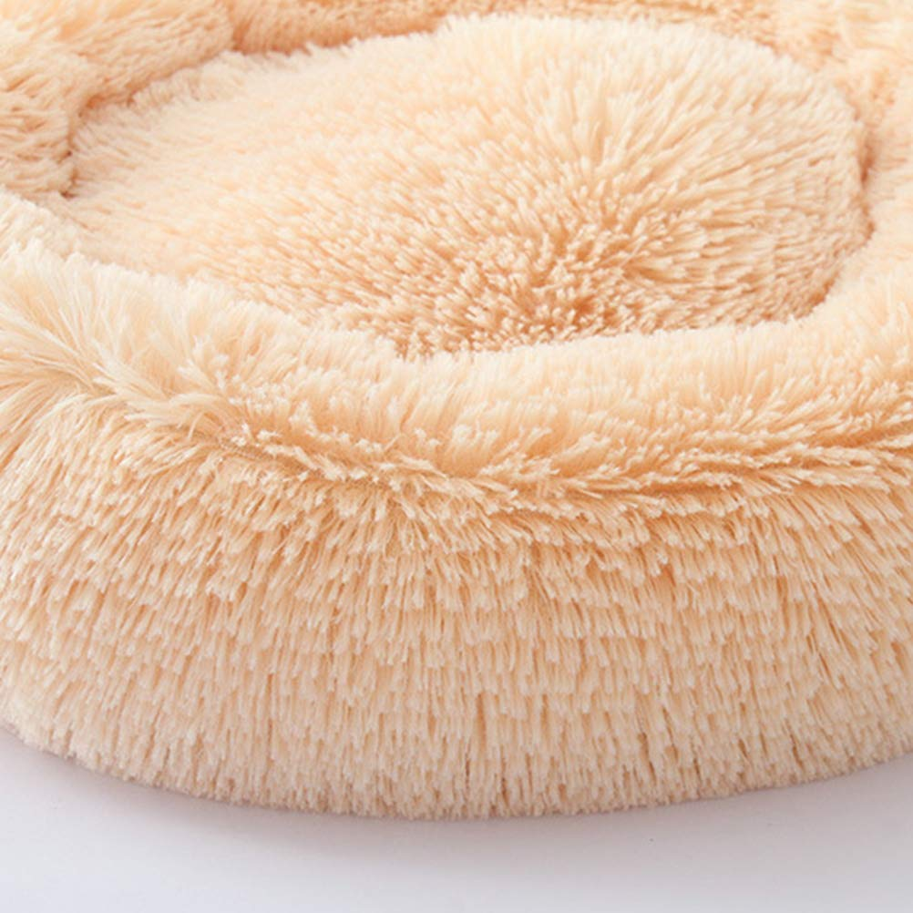 POPETPOP Luxury Shag Fur Donut Cuddler Round Cat and Dog Cushion Bed Self-Warming and Cozy for Improved Sleep (Big Size, Beige) by POPETPOP (Image #3)
