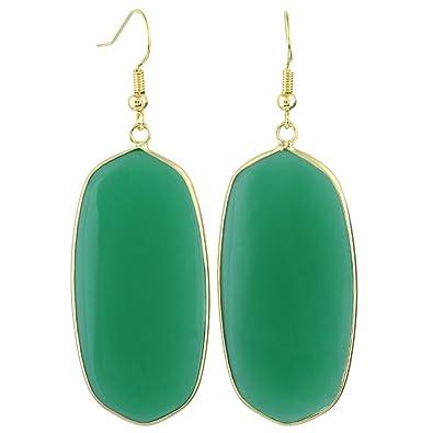 091213bd6 Amazon.com: SUNYIK Women's Green Crystal Glass Oval Dangle Earrings ...