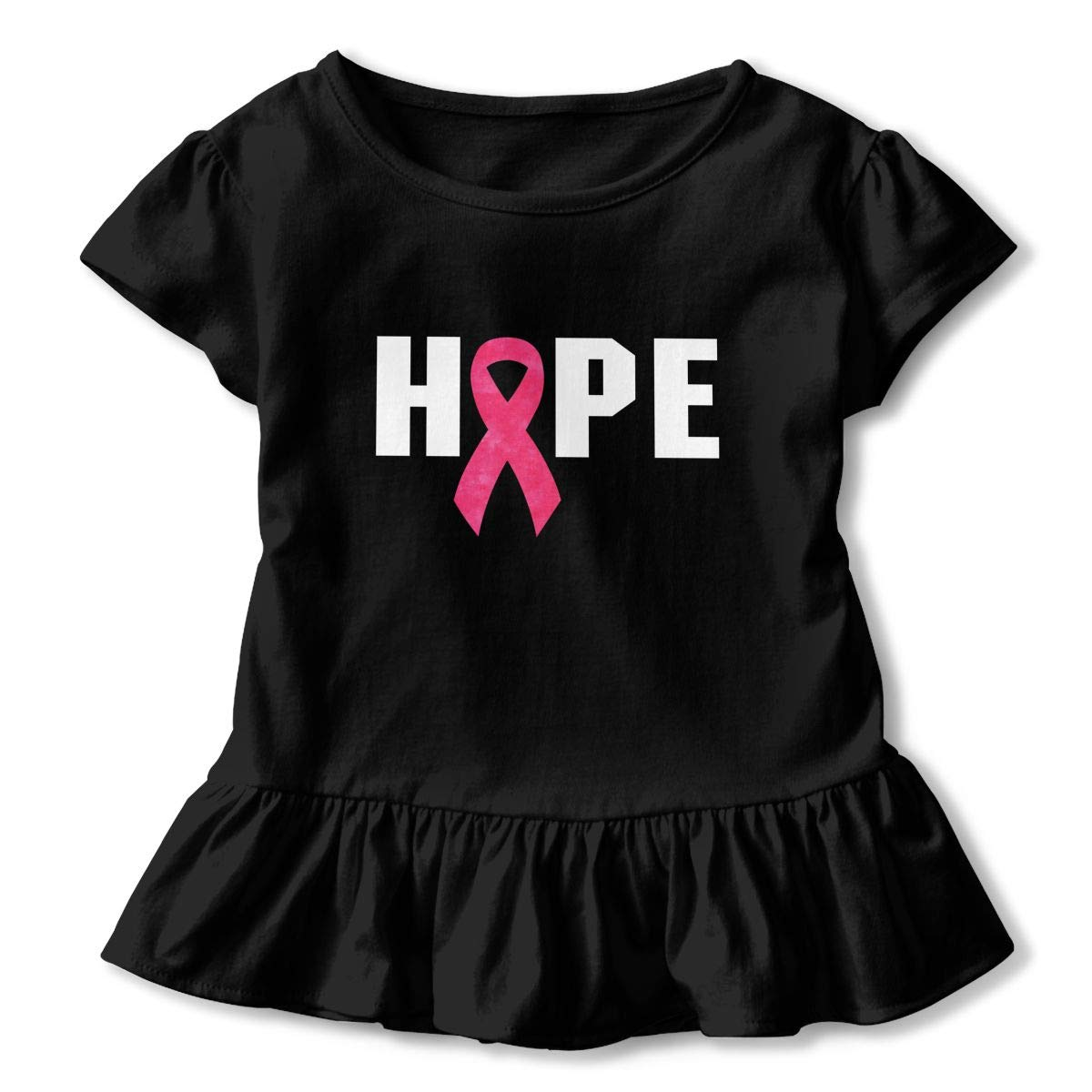 Clarissa Bertha Breast Cancer Awareness Hope Toddler Baby Girls Short Sleeve Ruffle T-Shirt