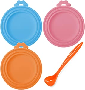 Lainrrew 3 Pcs Pet Food Can Covers, Silicone Can Lids with Spoon Fits Most Standard Size Dog and Cat Can Tops, Dishwasher Safe