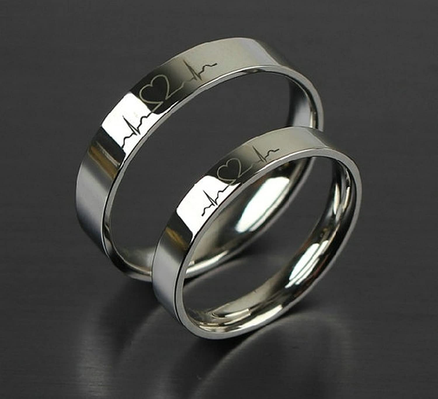 Amazon.com: Free Engraving Rings, Lectrocardiogram Promise Rings ...