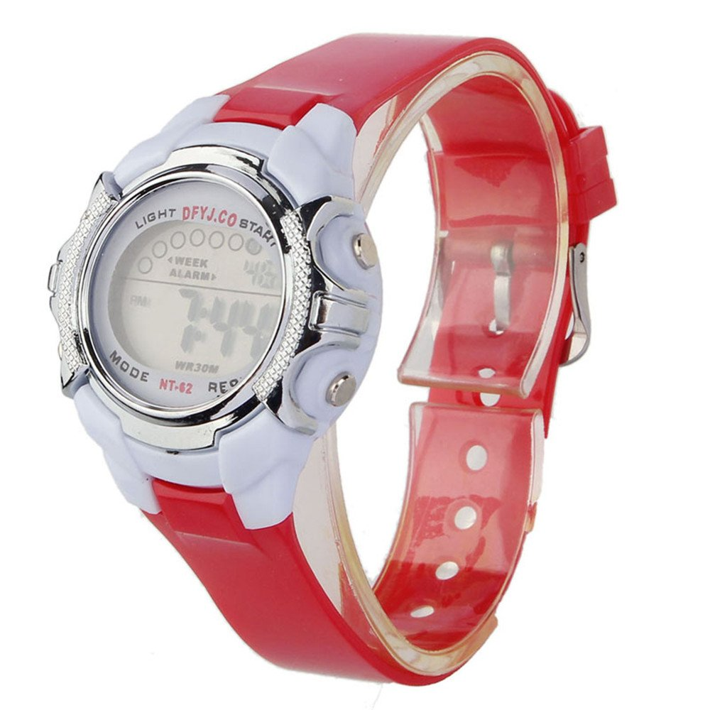 Fashion Children Digital LED Quartz Alarm Date Sports Wrist Watch for Boys Girls Men Women Bracelet Watch LED Watch Fashion Sport Water-resistant Digital Watch for Boys Girls (Red)