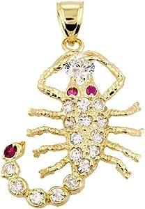 Stunning 14k Yellow Gold Scorpio Zodiac Sign Charm Stone-Studded Scorpion Pendant