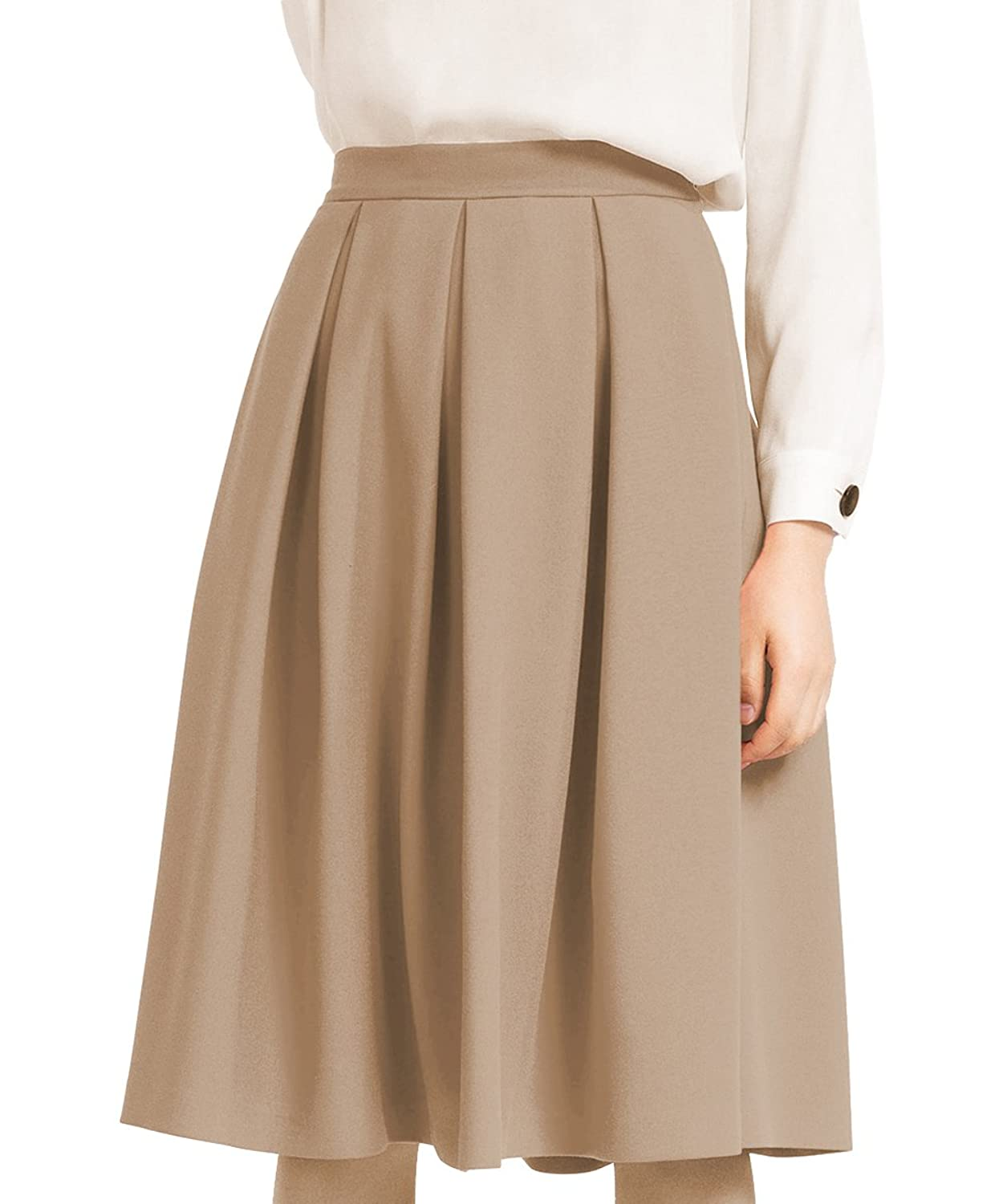 1940s Teenage Fashion: Girls Yige Womens High Waist Flared Skirt Pleated Midi Skirt With Pocket $19.88 AT vintagedancer.com
