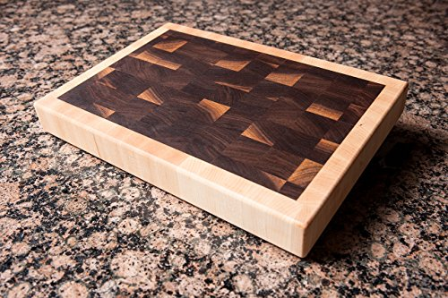 Chopping Blox End Grain Cutting Board Walnut with Maple border. SIXD-W