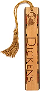 product image for Personalized Author, Charles Dickens Photo with Name - Engraved Wooden Bookmark with Tassel