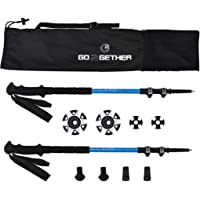 G2 GO2GETHER Expedition Trekking Poles Telescopic/Aircraft Aluminum Alloy/High Density Skin-Friendly Foam Handle/Auto-Adjustable Strap/Quick Flip Lock/Snow Baskets Attached (Pack of 2 Poles)