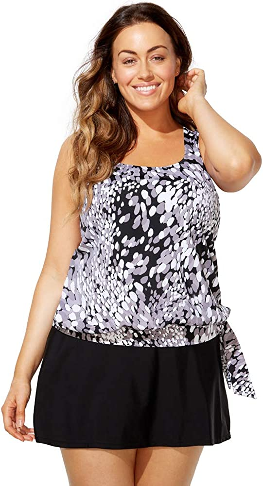 SWIMSUITSFORALL Swimsuits for All Womens Plus Size Side Tie Blouson Tankini Set with Skirt